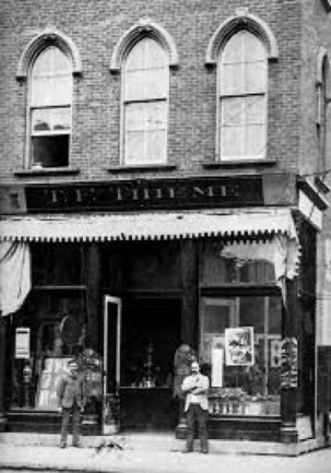 This black and white photo shows the Thieme Pharmacy in 1889.