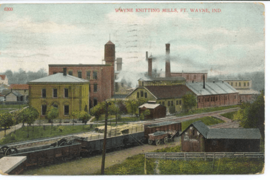 This colored postcard shows the Wayne Knitting Mills in 1908.