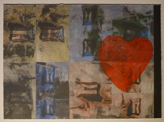 This print features a composition of 8 rectangles, each containing the Puerto Rican flag. Overtop four is a large, red heart that appears drawn on in crayon. With a subdued color palette of yellows, oranges, and blues, it looks almost like old photographs with a child's hand-drawn heart.