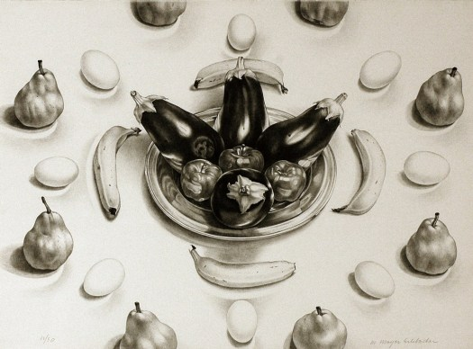 A print by Martha Mayer Erlebacher, this lithograph appears like a drawing on paper. In the center, four eggplants sit in a  bowl with three apples. Around them are four bananas, then a circle of eggs, then pears. The fruit and veggies form a pattern through their repetition.