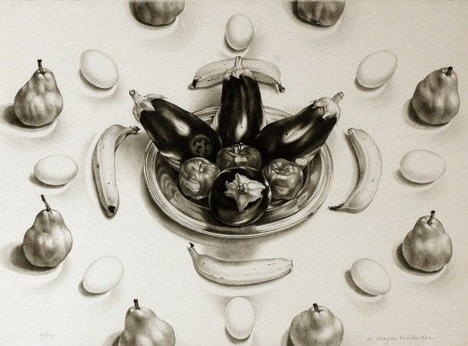 This print, in black and white, shows food circling other foods. Starting from the outside circle pears switch with eggs, followed by a circle of bananas, and then four eggplants and three apples in a reflective bowl.