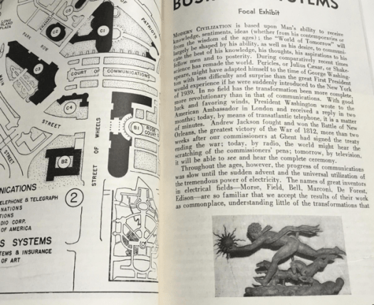 Inside the guidebook is a black and white photo of Paul Manship's sculpture of Day from The Moods of Time.