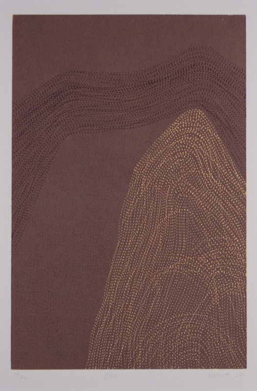A deep purple background sets off this vertical print. The top has black, stitched-like lines flowing above, creating the look of wind while yellow-ish stitch-like marks in the right hand corner undulate to create a mountain.