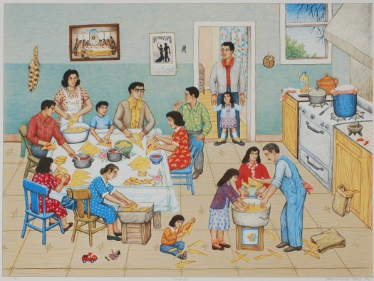 A family is in their kitchen making tamales. Each family member has their own job, from filling, sneaking bites, to settling them in the pan. In the background, post sit on the kitchen stove.