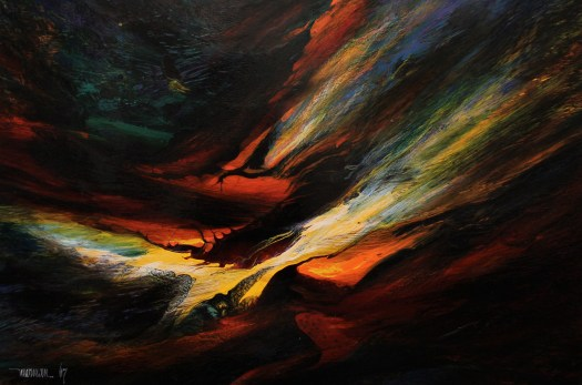 This abstract painting is darkly colored, with deep blues, greens, and blacks filling the background. In the center, however, is lighter yellows, oranges, and reds, as if a sunrise is appearing.