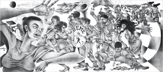 A black and white lithograph of various men and women dancing and playing instruments.