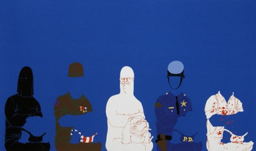 """In the middle is big daddy, with a bulldog on his lap. To the right and left are the different """"outfits"""" you can use to dress up his paper doll. From left, a hooded figure, an army man, a police officer, and a bloodstained white shirt and apron. Each paper doll includes a corresponding outfit for his bulldog."""
