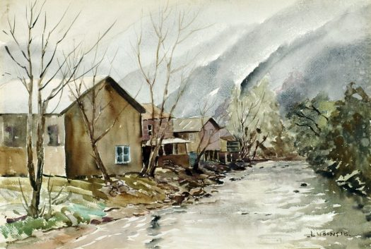 A watercolor landscape of mountains in the background, with houses lining a creek on one side and trees on the other.