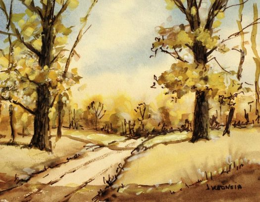 An autumnal watercolor landscape, a  dirt road cuts through a thin forest of trees, whose leaves are beginning to fall. The yellows, oranges, and browns add to the feeling of autumn.