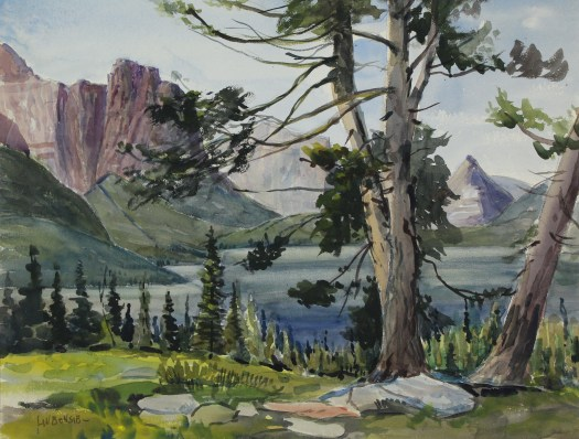 A watercolor landscape illustrates a blue sky with mountains in the background. In the foreground, a large tree stands in front of a smaller copse of trees leading to a large, blue lake or river.
