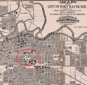 An 1885 map of Fort Wayne. Circled is the location of the Hamilton estate.