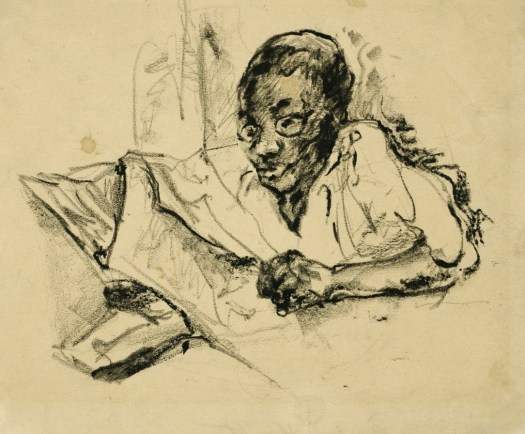 An etching, in black, shows a woman with a paper in her hands. Her head is slightly bowed as she looks down, reading the paper. She appears to be laying down, though only her head to waist is drawn.