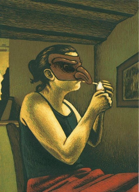 A woman sits in her house, on a chair, smoking. She wears a bird mask that covers her eyes and nose.