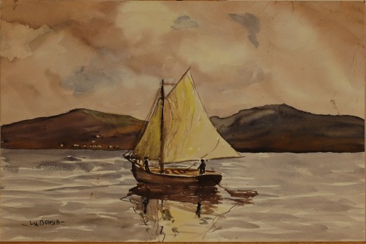 A watercolor painting of a sailboat and skiff on a lake. In the background are mountains and a cloudy, yellow sky. A long figure stands on the boat, which is reflected on the lake.