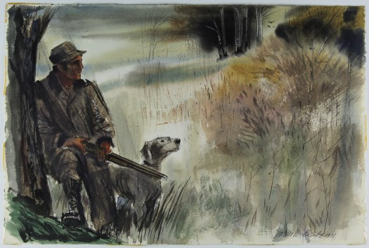 A male hunter leans against a tree with a gun in his hand with his dog. They stand in a clearing, with a tree-line in the background. Dressed in dark clothes and a hat.