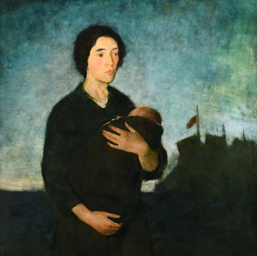 A portrait of a pale woman in black, clasping a baby in her arms. In the background is a blurry fort, or ship, with the flag flown at half-mast. The entire palette is dark, with only the blue-green sky offering color.