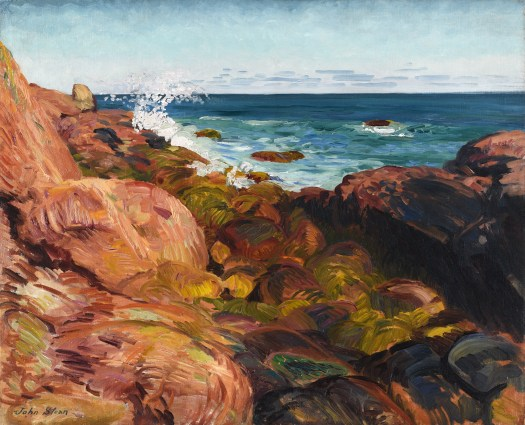 Bright, vibrant colors create this seaside composition. The foreground is made up brown, orange, and red rocks with varying tones of green moss overlaying them. Farther in the background, a wave crashes over and rises above the rocks. The blue water darkens as it fades into the horizon line in the background.