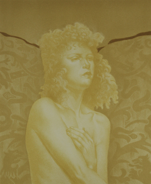 A nude woman with curly hair, face turned to the right, crosses one arm across her chest. The pattern in the back appears to be flowers.