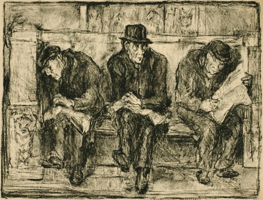 Three men sit on a bench, wearing top hats, coats, and shoes. They each have a newspaper.