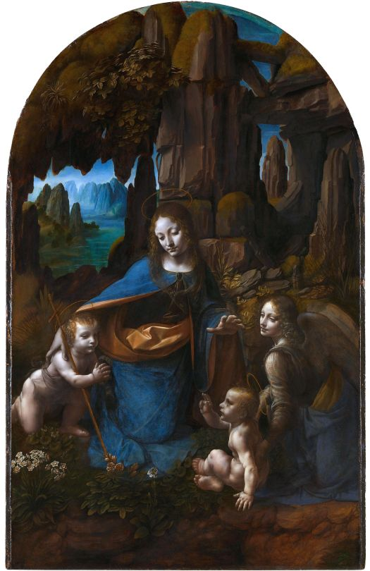 A painting by Leonardo da Vinci shows the Virgin Mary sitting on a rocky outcrop near a body of water. She is surrounded by Christ, John the Baptist, and an angel. The use of light and shadows to create a realistic scene was pioneered by the artist. His bright colors of blue and orange spotlight the people and mirror the water beyond.