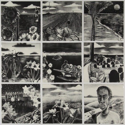 A set of nine black and white lithographs, depicting flowers, a graveyard, a man, and a band. Each print stands on its own individually but also adds to the overall narrative.