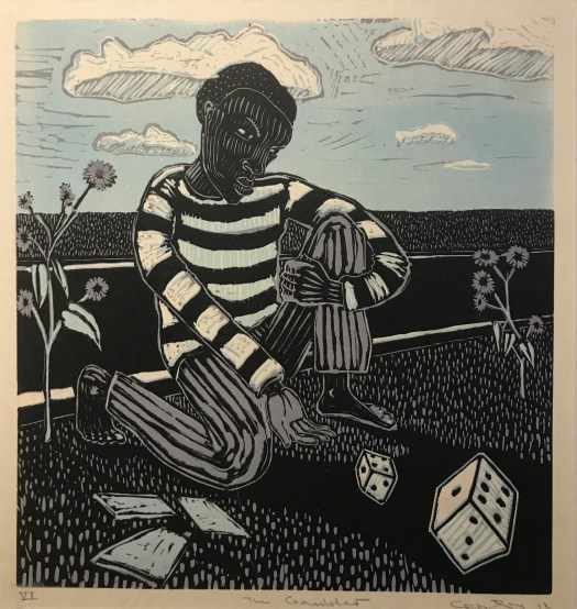 Created from blue, black, and white colors, the composition shows a man, bent down on one knee, rolling die toward the viewer. Next to him are cards. He appears to be in front of a road, with flowers next to him. His striped shirt and pants reflect the stripes in the clouds and the dots used to create grass.
