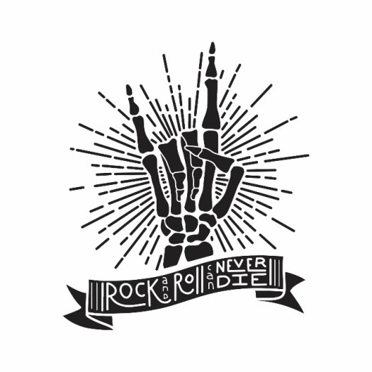 A pen and ink print of a skeleton hand making the rock n roll symbol (point and index fingers up, other three ringers down) with a phrase by Neil Young below it.
