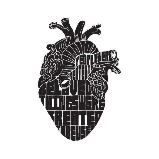 A black and white print of a human heart with a quote inside.