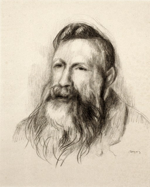 A portrait of the sculptor Rodin, the artist has captured his face and shoulders. He appears old and tired, looking askance.