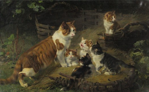 A painting of an adult cat with five kittens.