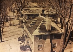 A photograph of the Fort Wayne Art School and Museum building housed on Berry Street from above.