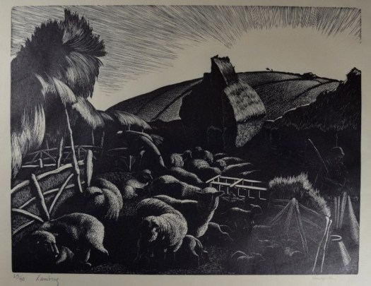A lithograph of sheep in the foreground, penned in with a thatch-covered building in the back. Disappearing into the background are hills of crops.