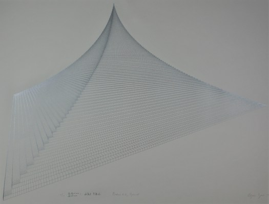 A lithograph of a pyramid made up of tiny, individual squares set against a plain, white background.