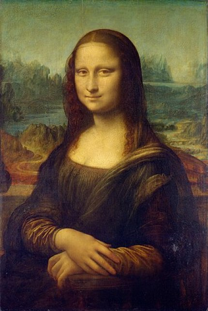 Leonardo da Vinci's masterpiece, the Mona Lisa, is a portrait of woman with a slight, sly smile and country background.