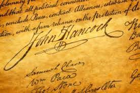 John Hancock's signature on the United States Declaration of Independence.