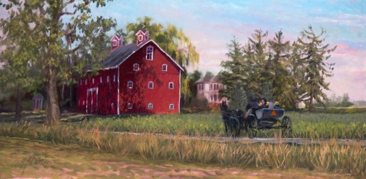 A finished painting shows a red barn with another house in the distance. Approaching the barn is a horse and buggy full of people. Trees line the violet-blue sky of a sunrise.