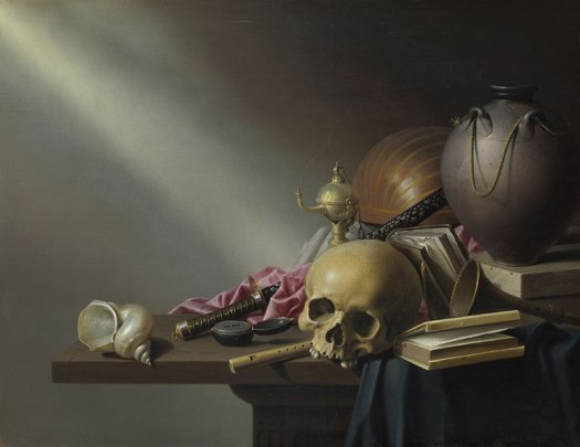 A still life with a dark background, light from an unknown source on the left shines on the objects gathered on the table: skull, shell, compass, book, instruments, and silk fabrics.