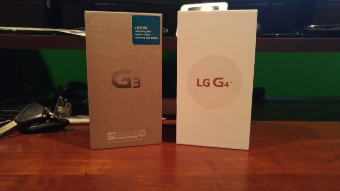 LG G4 and LG G3 boxes
