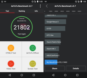 Motorola Moto E benchmark