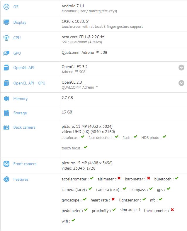 Moto X4 specs on GFXBench