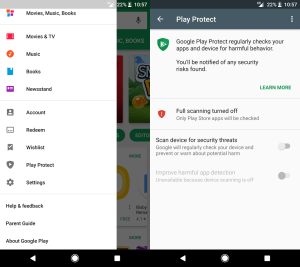 Disable Google Play Protect images