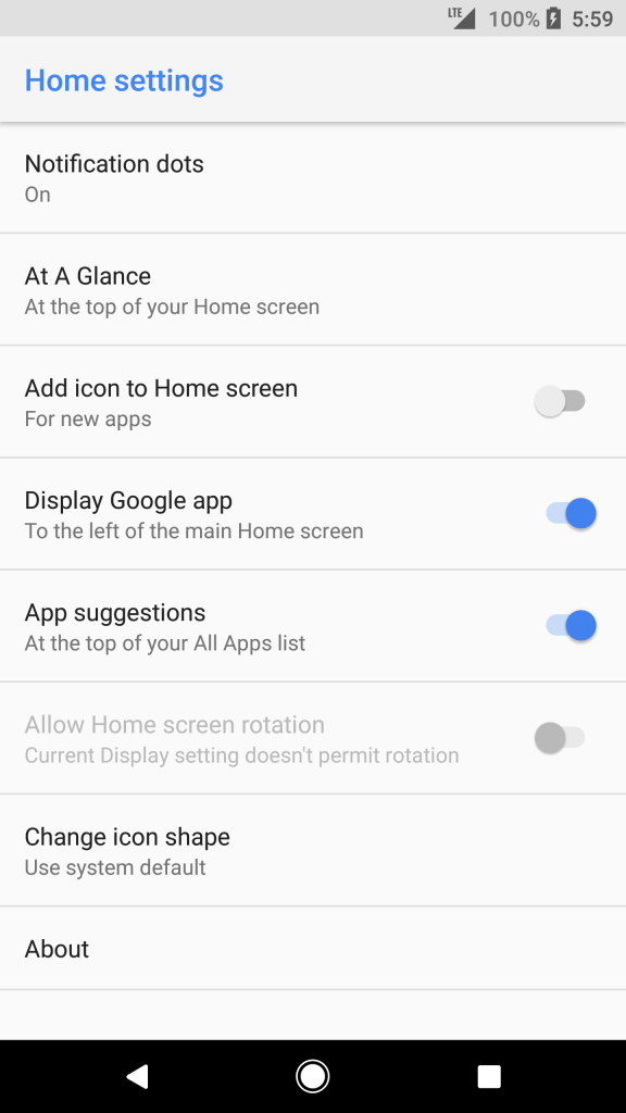 Pixel 2 Launcher options