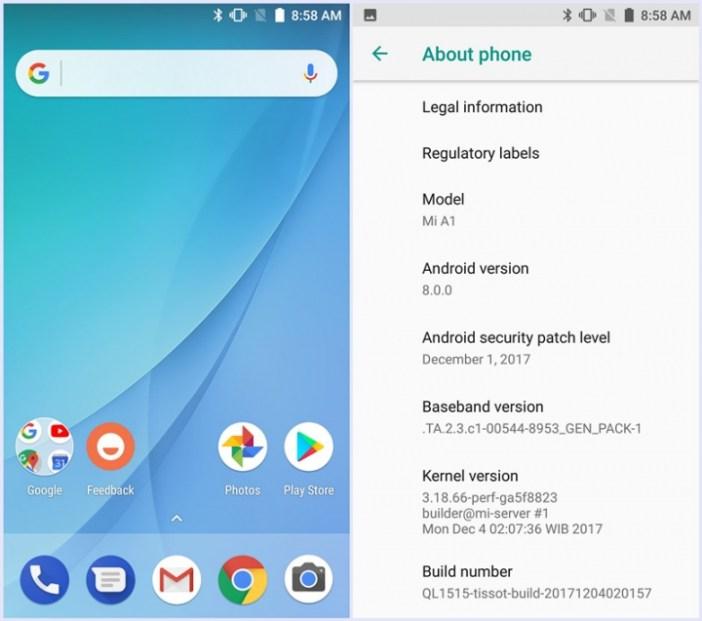 Mi A1 running Android Oreo