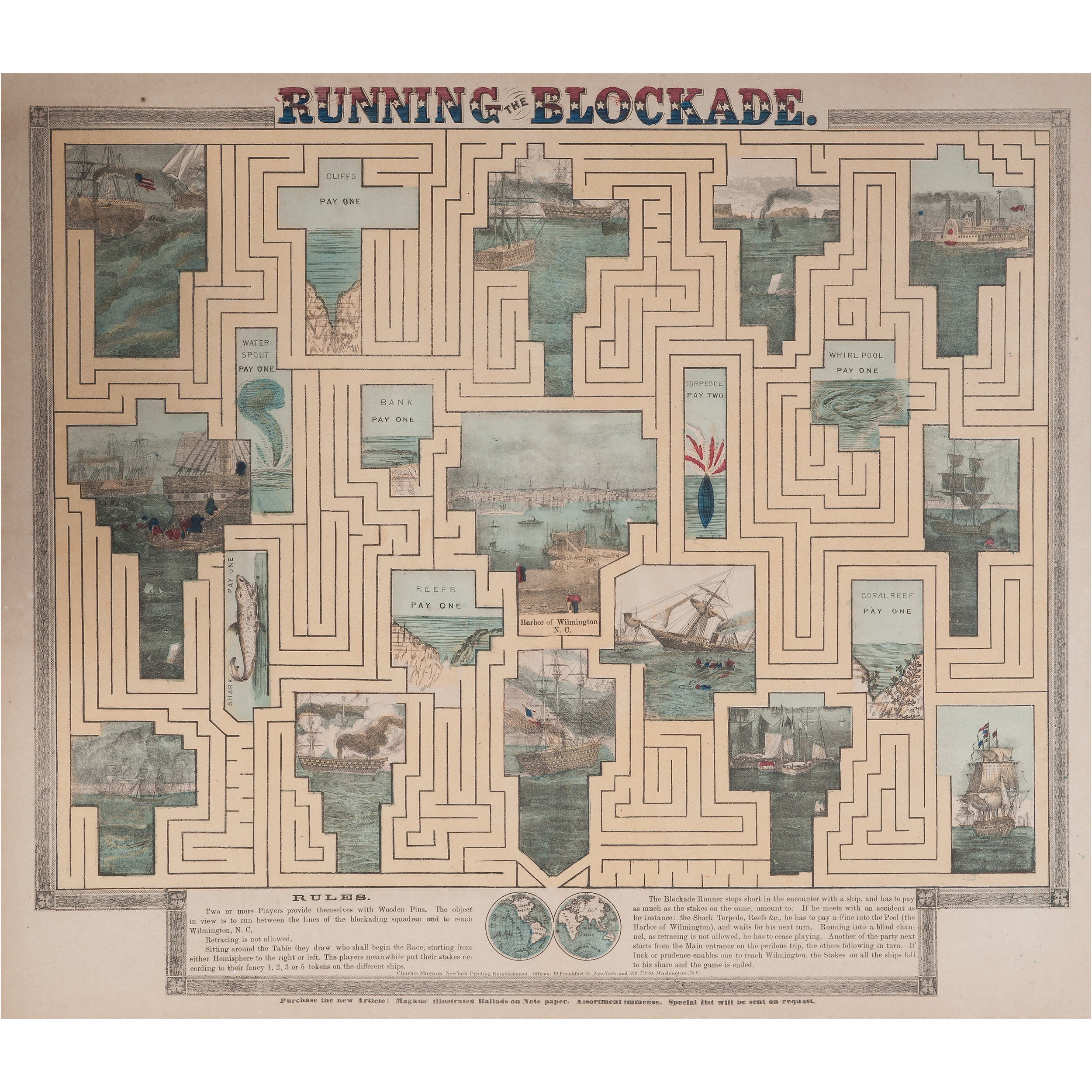 Running The Blockade Civil War Hand Colored Maze Game By
