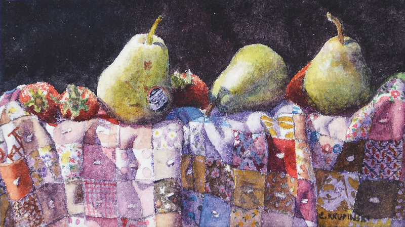 Three Pears on Quilt