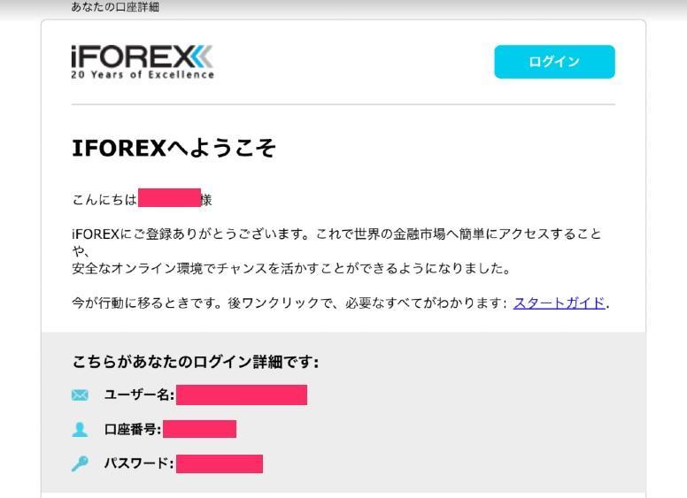 iforex 口座開設完了ページ