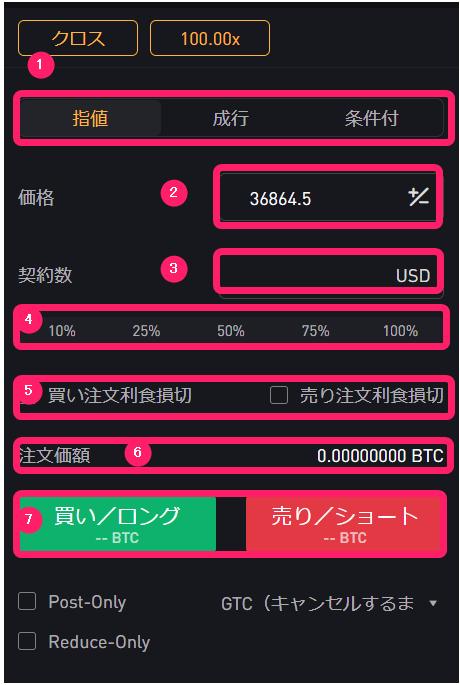 bybit インバース先物契約 取引手順