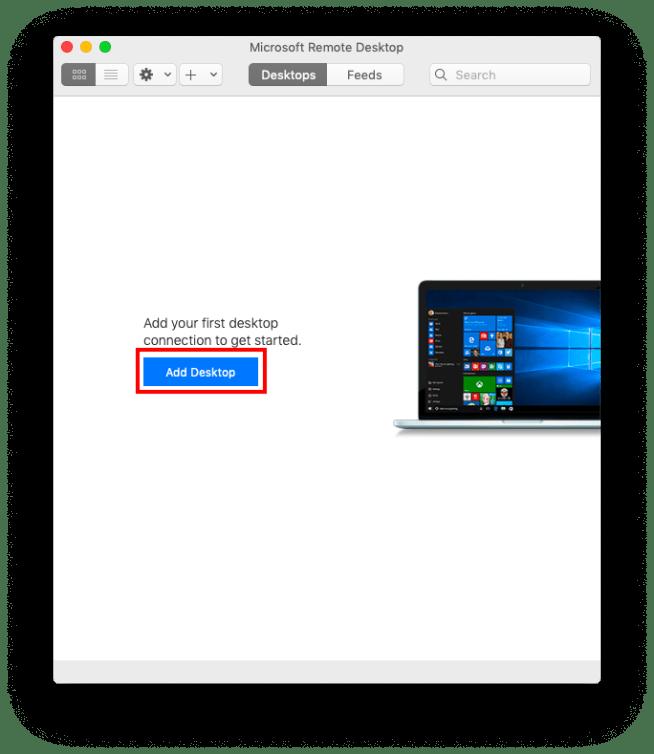 remotedesktopアプリを初めて起動するとこのような画面になります