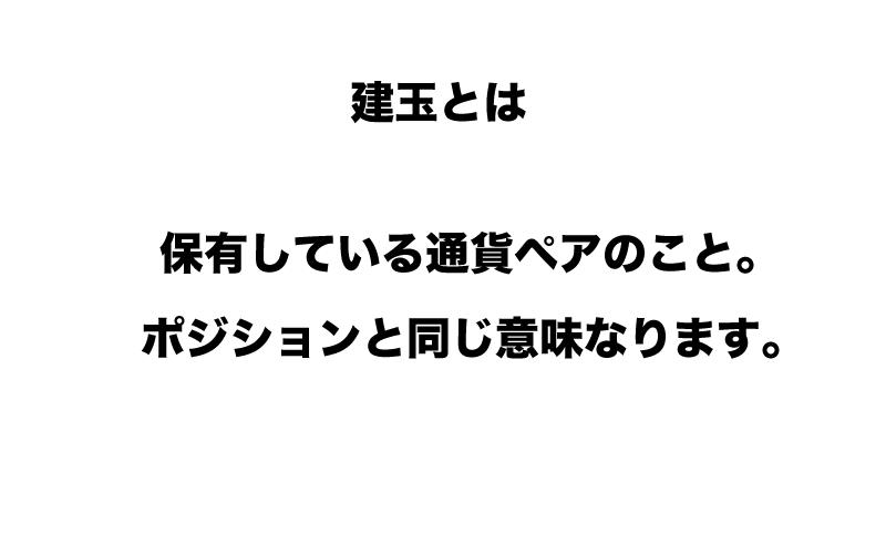 FX 建玉( たてぎょく)