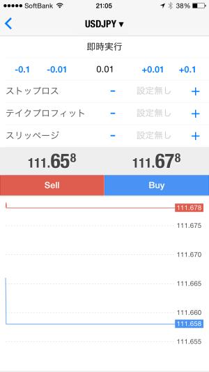 iphoneMT4トレード発注画面